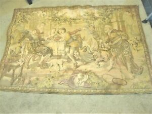 """ANTIQUE TAPESTRY WALL HANGING TWO COUPLES IN A PALACE GARDEN SIGNED 'DE"""" VERBACH"""