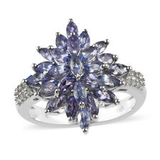 925 Sterling Silver Blue Tanzanite Zircon Cluster Ring Gift Size 7 Ct 2.2