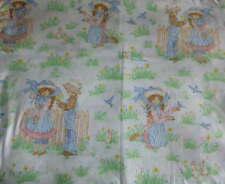 Vintage SEARS Flat Twin Bed SHEET Fabric Country Children Prairie Kids Bluebird