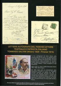 Lettera, biglietti e busta di Tommaso Salvini Attore e Patriota Italiano 1896