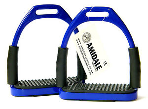 FLEXI SAFETY STIRRUPS HORSE RIDING BENDY IRONS BLUE COLOR FROM AMIDALE