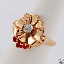 1940' Retro Period Ptnk Gold Accents Diamond & Rubies 14K Gold Ring Sz 7-1/4
