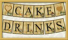 Alice In Wonderland DIY Party Wedding Bunting Banner Flags Prop -  CAKE  DRINKS