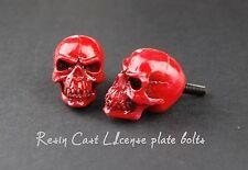 Red 3d Skull style license plate bolts,screw,tag,frame,chopper,cafe racer,bobber