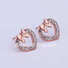 18K Rose Gold Filled Love Open Heart Crystal Pavement Knot Stud Post Earring ZZ0