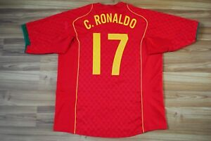 PORTUGAL NATIONAL TEAM RONALDO #17 2004/2005/2006 FOOTBALL JERSEY SHIRT HOME XL