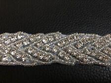 Clear Rhinestone Beaded Iron On Applique Trim Wedding Bridal Sash Belt Dress Sew