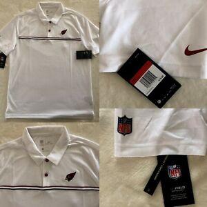 NIKE  $75 NFL Az Cardinals on-field SIDELINE ELITE Polo Shirt White size L #27