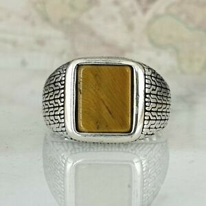 Solid 925 Sterling Silver Tiger Eye Gemstone Men Ring Handmade Ottoman Style
