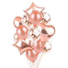 Rose Gold Confetti Balloon Star Latex Foil Heart Balloons Birthday Wedding Party