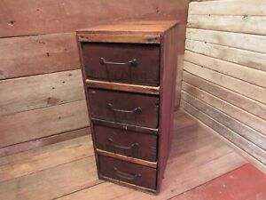 Vtg One Of A Kind Handmade w/ Old Winchester Crates 4 drawer File Wood Cabinet