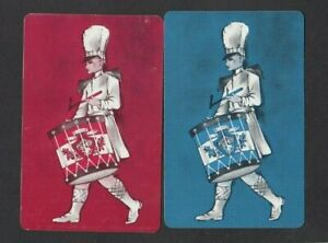 2 VINTAGE SWAP PLAYING CARDS  DECO DRUMMER BOY MAN MARCHING BAND