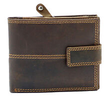 Starhide RFID BLOCKING Mens Distressed Brown Leather Wallet Zip Coin Purse 1044
