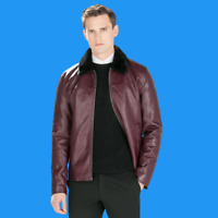 ZARA Maroon Wine Faux Leather Jacket Furry Collar M L Gents Authentic 0706/427