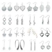 925 Silver Plated Drop Dangle Hanging Hook Earrings Hoop Ladies Womens Gift D