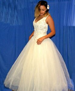 WEDDING DRESS - IVORY - SEQUINNED BODICE WITH DIAMANTE TULLE