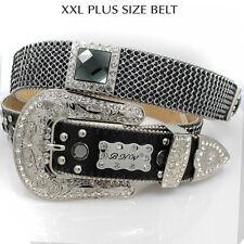 2XL-708-BLK-BLK Bling Belt XXL Bling Plus Size Belt Rhinestone Plus Size Belt