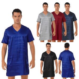 Men Nightshirt Satin Nightwear V Neck Short Sleeve Soft Loose Pajama Sleep Shirt