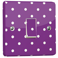 Purple Polka Dot Light Switch Wrapped Sticker for Crabtree Single 4070 1-Gang