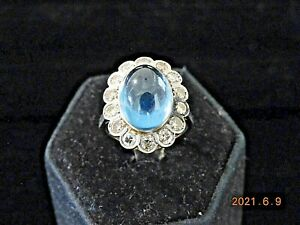 ESTATE 18K YELLOW GOLD COCKTAIL RING WITH DIAMONDS & AQUAMARINE        NR