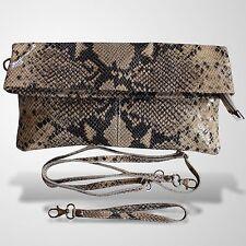 Clutch Abendtasche Schultertasche Leder Umhänge Tasche Handtasche Beige 1