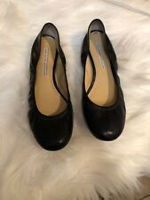 Vera Wang Black Leather Lavender Label Round Toe Ballet Flats Size 7.5 7 1/2