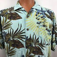 Joe Marlin Hawaiian Aloha Shirt Size XL Palm Leaves Teal Turquoise Blue Green