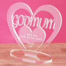 Personalised Heart Message Ornament Keepsake Godmum Christening Godparent Gift