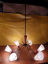 Lampadario Ragno Ottone Rosso Dorato Anni 50/60 Vintage Sputnik Design Stilnovo