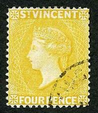 St Vincent SG56 4d Yellow wmk Crown CA SUPERB CDS used Cat 15 pounds