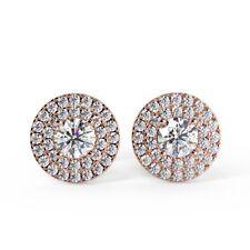 0.60 Ct Round Diamond Double Halo Stud Earring, 18k Rose Gold UK Hallmarked