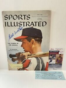 Sports Illustrated 1958 Original Vintage Eddie Mathews Signed Magazine JSA Cert
