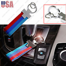 M-Colored Stripe Nylon Band w/ Inner Leather Key Chain for BMW X5 X6 3 5 7 M3 M5
