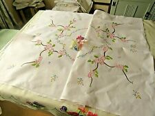 VINTAGE HAND EMBROIDERED TABLECLOTH/ BEAUTIFUL PINK APPLE BLOSSOM