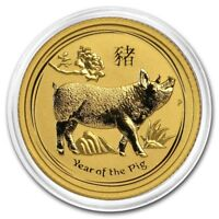 2019 ~ 1/10th~OZ. PURE .9999 GOLD ~ YEAR of the PIG ~ PERTH MINT GEM ~$178.88
