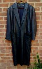Vintage Norma Dark Blue leather coat UK size 14 EU 42