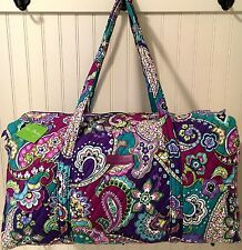 Vera Bradley LARGE DUFFEL HEATHER Bag Luggage Travel Tote Purple Weekender NWT