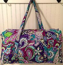 Vera Bradley LARGE DUFFEL HEATHER Bag Luggage Travel Tote Purple Weekender NWT