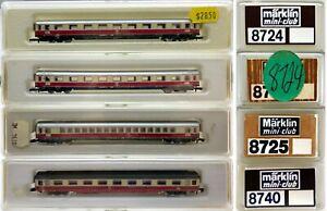 MARKLIN Z SCALE 8724-8724-8725-8740  4 Passenger Cars Original Marklin Boxes C8