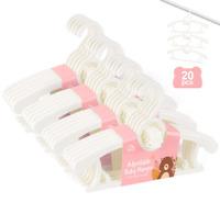 Set of 20 Plastic Nursery Baby Hangers with Space-Saving Stackable Hooks Hangers
