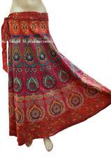 Peacock Print Indian Cotton Women Long Repron Ethnic Mandala Skirt Wrap Maxi Art