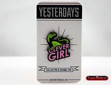 """Clever Girl 1.25"""" Soft Enamel Black Meal Lapel Pin Yesterdays Jurassic Park"""