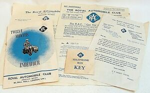 The R.A.C Original 1949 Documents And An Original Box Key In A Sealed Envelope
