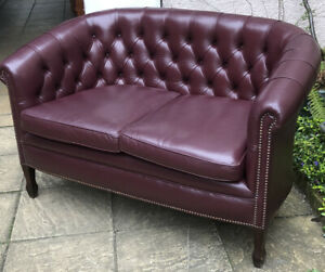 ANTIQUE STYLE PLUMB   LEATHER  2 SEATER SOFA LOVE SEAT HIGH QUALITY SOFT LEATHER