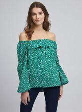 Dorothy Perkins Womens Green Floral Bardot Top Long Sleeve Shoulderless Blouse
