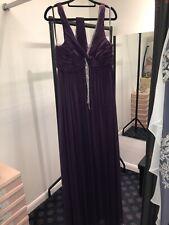 Dynasty Purple V-neck Beaded Long Evening/prom Dress Size 14 BNWT