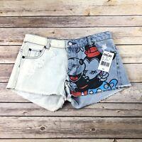 New Disney Mickey & Minnie Mouse Denim Cutoff Shorts Size 0 NWT