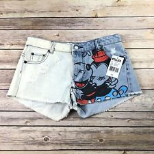New Disney Mickey & Minnie Mouse Denim Cutoff Shorts Size 0 NWT