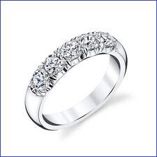 VS1-VS2 1.2ct Diamond Wedding Anniv Band 18K White Gold. 5 Large Round Brilliant