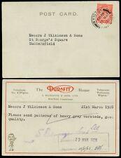 Gb kg5 1928 Redmayne + hijos durafit + Perfin Ilustrado Tarjeta wigton Cumberland